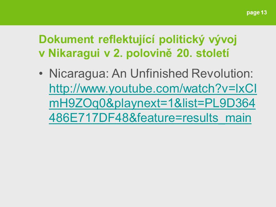 Dokument reflektující politický vývoj v Nikaragui v 2.