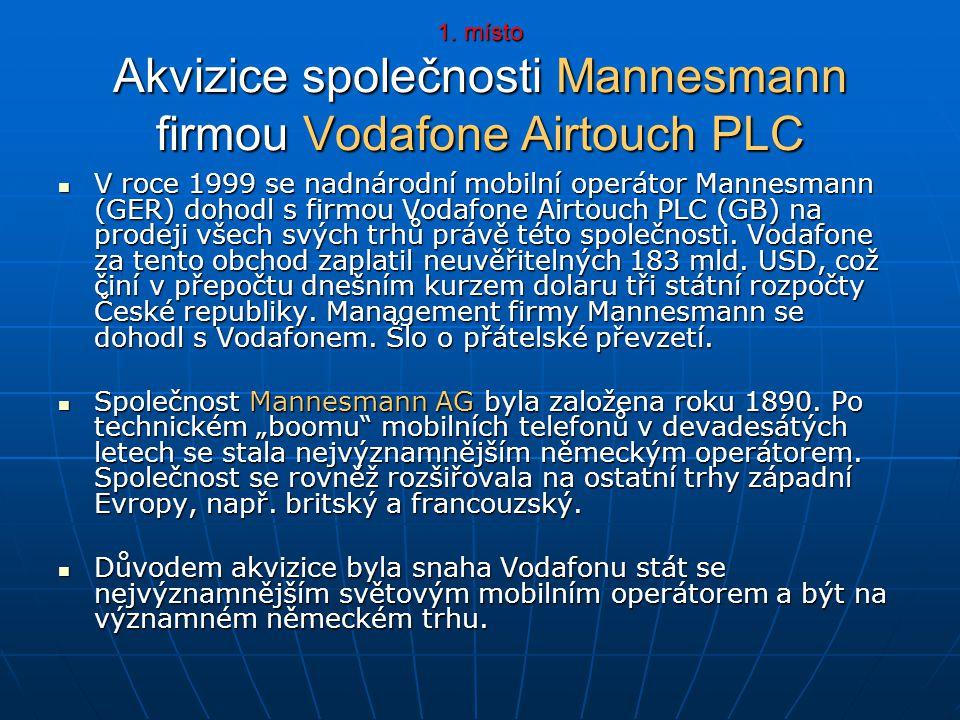 1. místo Akvizice společnosti Mannesmann firmou Vodafone Airtouch PLC V roce 1999 se nadnárodní mobilní operátor Mannesmann (GER) dohodl s firmou Voda