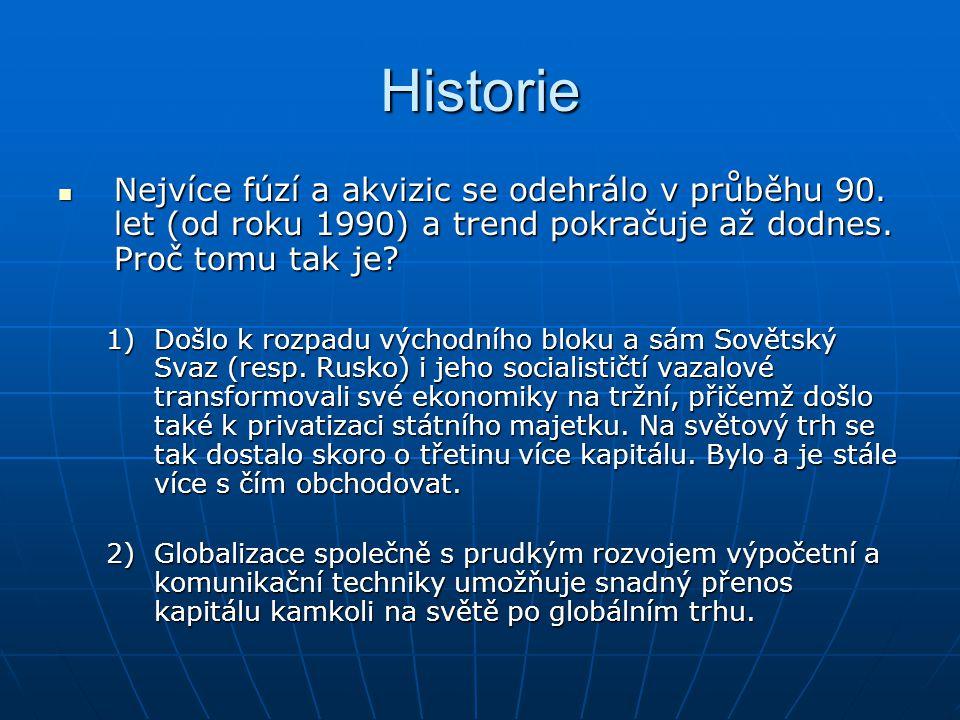 Historie Nejvíce fúzí a akvizic se odehrálo v průběhu 90. let (od roku 1990) a trend pokračuje až dodnes. Proč tomu tak je? Nejvíce fúzí a akvizic se
