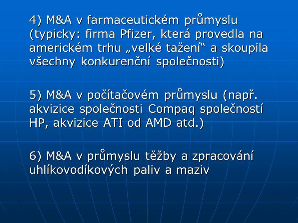 """4) M&A v farmaceutickém průmyslu (typicky: firma Pfizer, která provedla na americkém trhu """"velké tažení"""" a skoupila všechny konkurenční společnosti) 5"""
