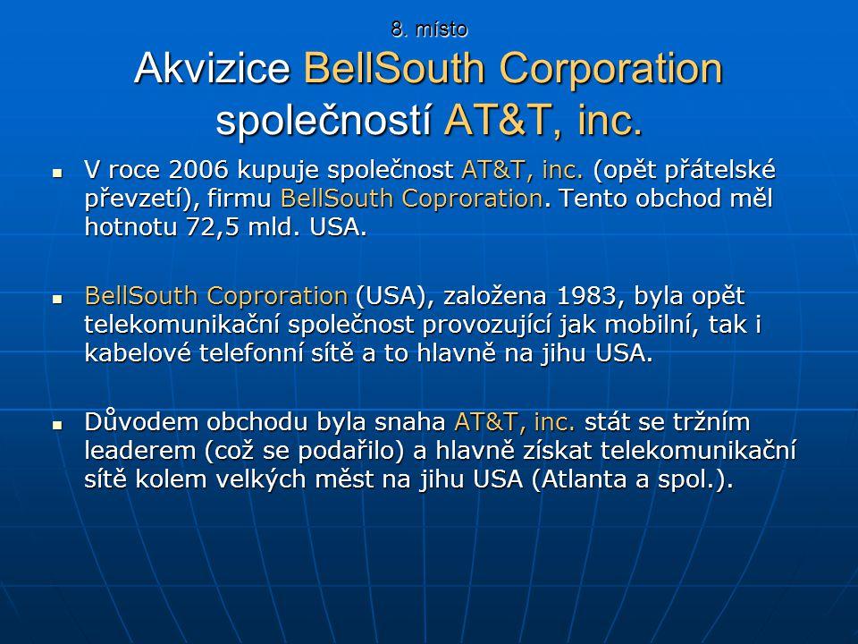 8. místo Akvizice BellSouth Corporation společností AT&T, inc. V roce 2006 kupuje společnost AT&T, inc. (opět přátelské převzetí), firmu BellSouth Cop
