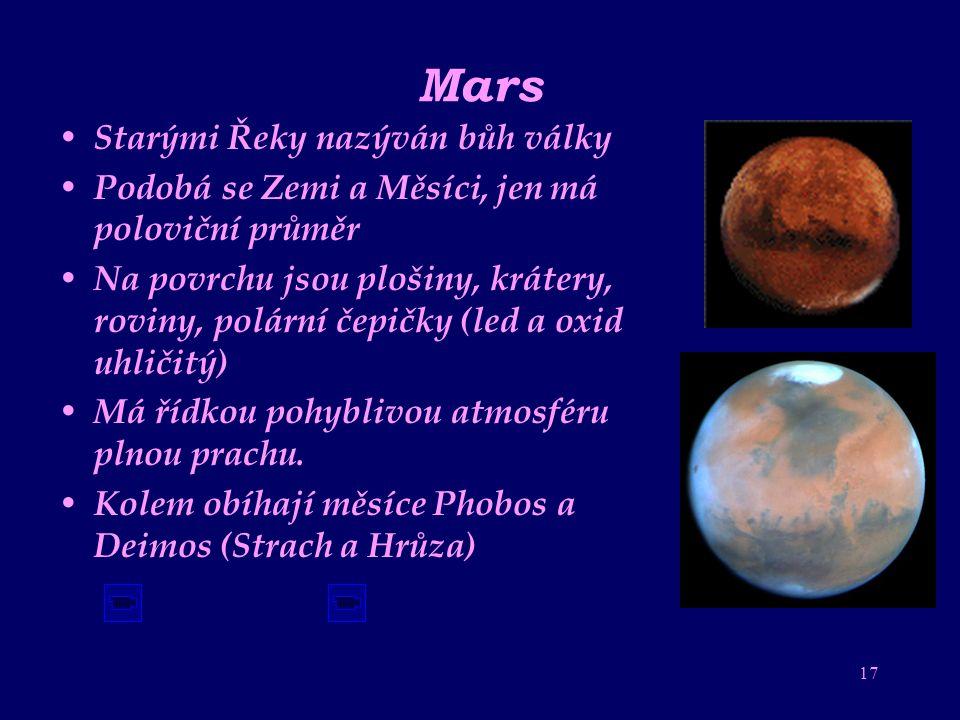 16 Měsíc přirozená družice Země Měsíc obíhá kolem Země a my to vnímáme jako fáze-cykly Měsíce Čas mezi novy je 29,5 dne (709 hodin). 1. navštíven sově
