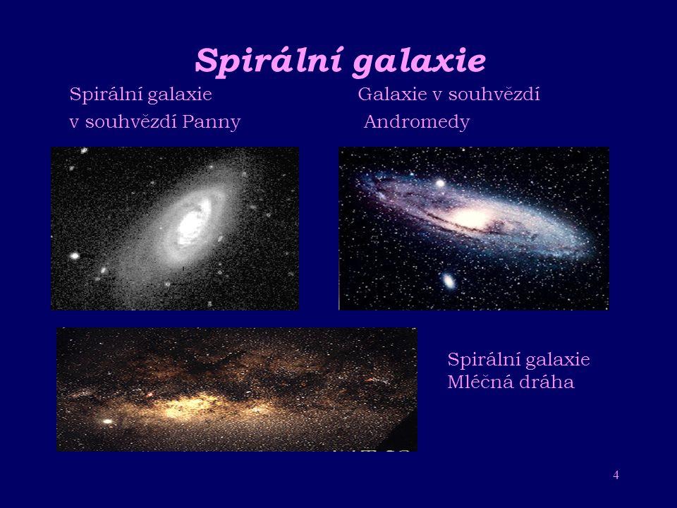 3 Dle tvaru rozlišujeme galaxie: – spirální například naše Galaxie mají tvar disku se spirálovými rameny další spirální galaxií je Mléční dráha – elip