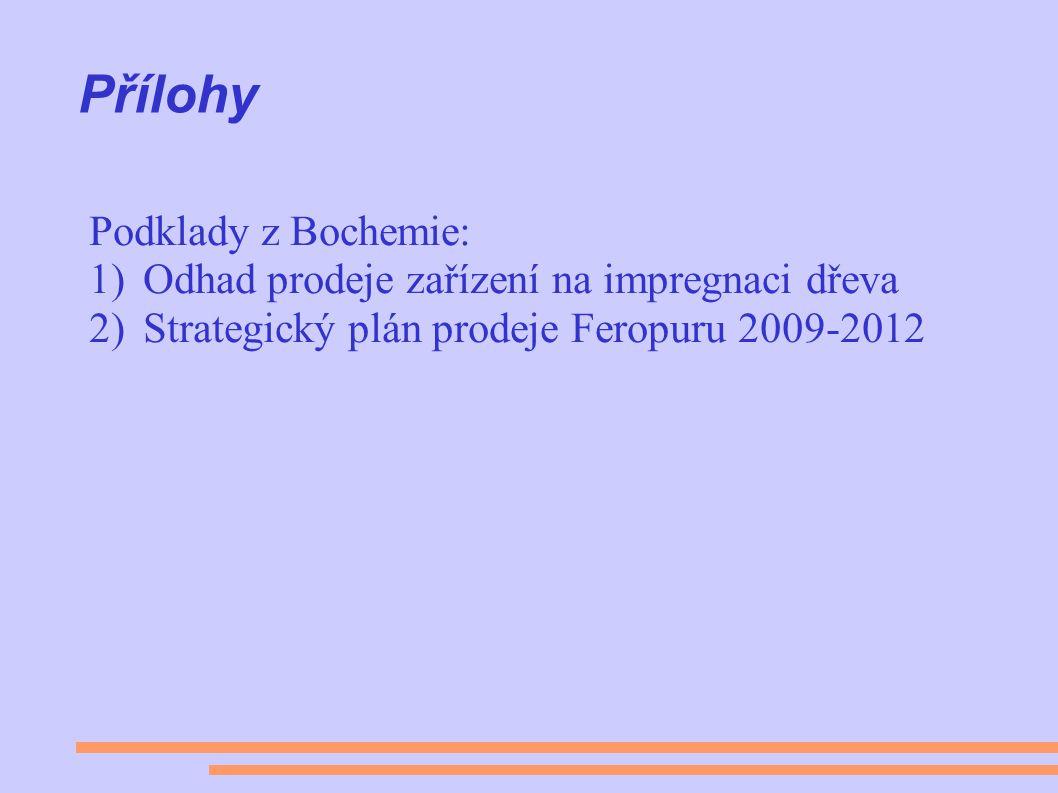 Přílohy Podklady z Bochemie: 1)Odhad prodeje zařízení na impregnaci dřeva 2)Strategický plán prodeje Feropuru 2009-2012