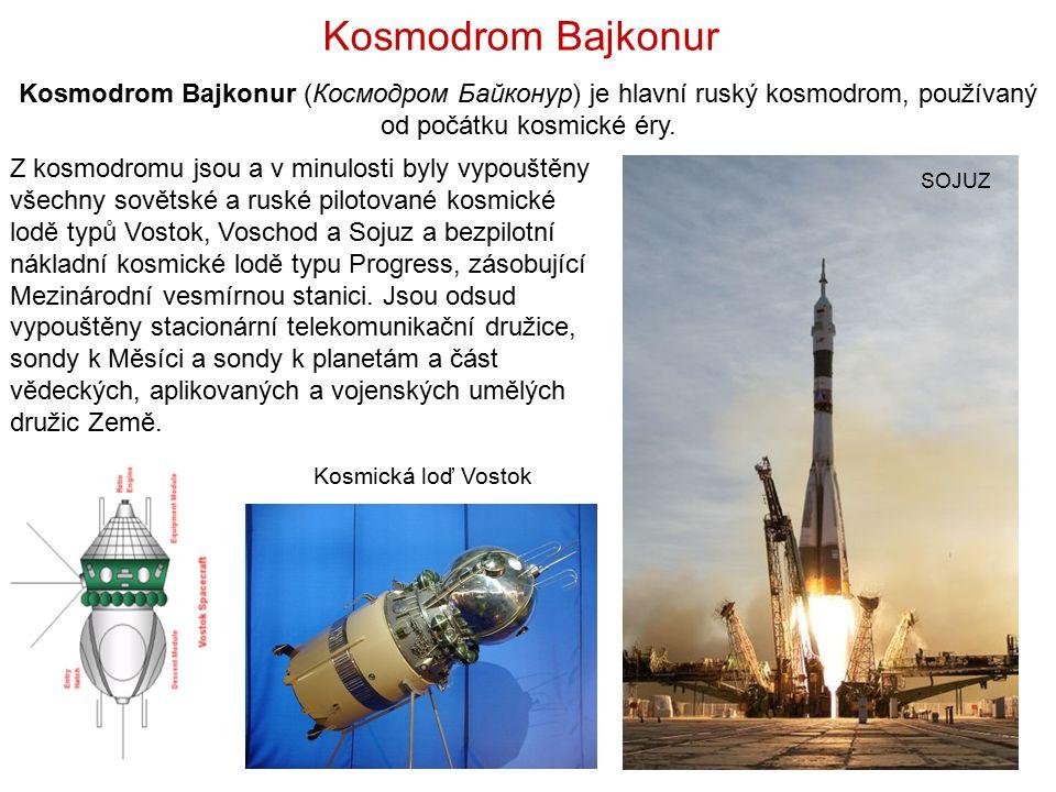 Kosmodrom Bajkonur Kosmodrom Bajkonur (Космодром Байконур) je hlavní ruský kosmodrom, používaný od počátku kosmické éry.