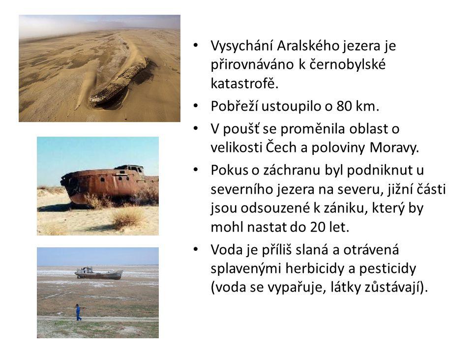 Vysychání Aralského jezera je přirovnáváno k černobylské katastrofě. Pobřeží ustoupilo o 80 km. V poušť se proměnila oblast o velikosti Čech a polovin