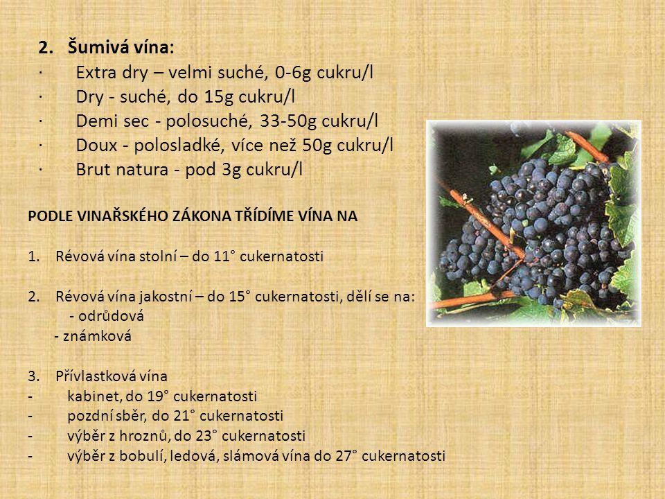 2. Šumivá vína: · Extra dry – velmi suché, 0-6g cukru/l · Dry - suché, do 15g cukru/l · Demi sec - polosuché, 33-50g cukru/l · Doux - polosladké, více