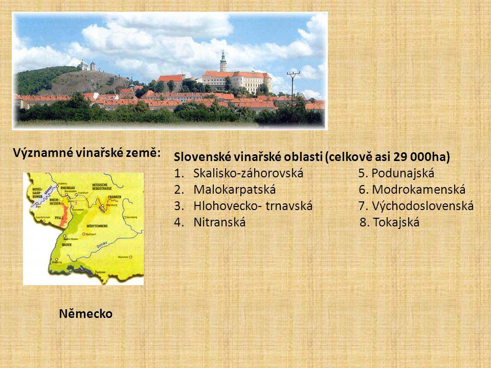 Slovenské vinařské oblasti (celkově asi 29 000ha) 1. Skalisko-záhorovská 5. Podunajská 2. Malokarpatská 6. Modrokamenská 3. Hlohovecko- trnavská 7. Vý