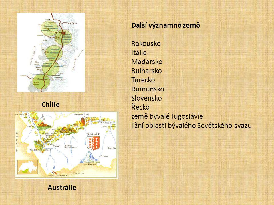 Chille Austrálie Další významné země Rakousko Itálie Maďarsko Bulharsko Turecko Rumunsko Slovensko Řecko země bývalé Jugoslávie jižní oblasti bývalého