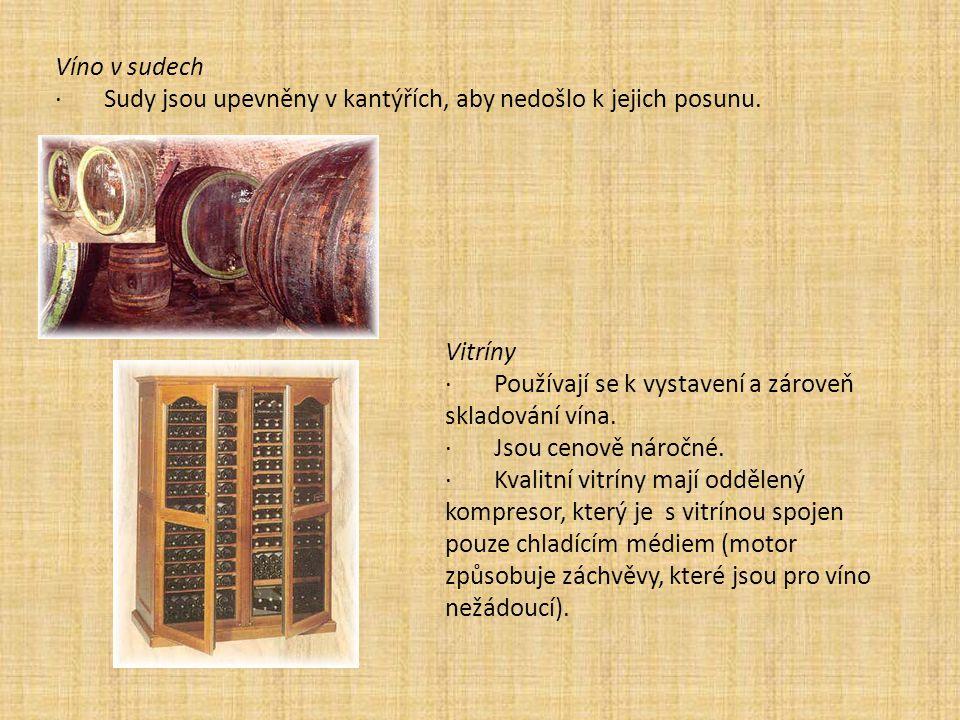 Víno v sudech · Sudy jsou upevněny v kantýřích, aby nedošlo k jejich posunu. Vitríny · Používají se k vystavení a zároveň skladování vína. · Jsou ceno