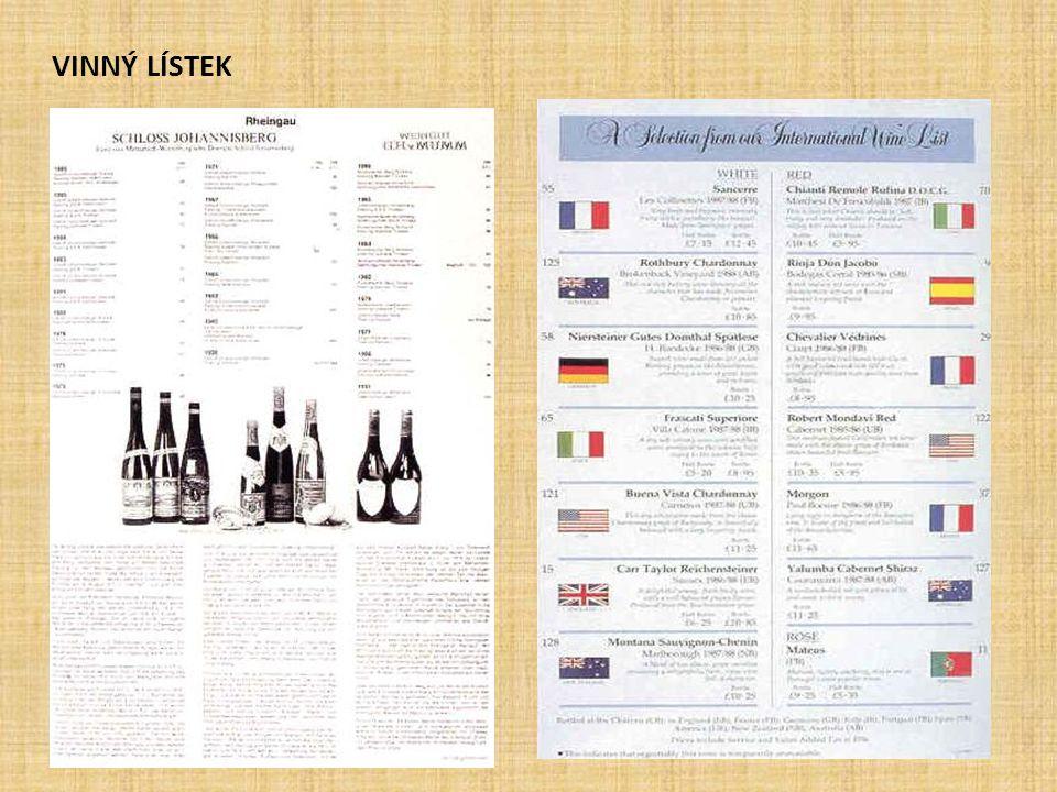 - Obsahuje nabídku domácích i zahraničních vín.- Vhodné je používat tzv.