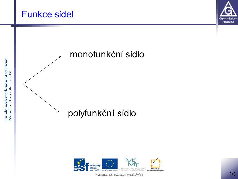 Přírodní vědy moderně a interaktivně ©Gymnázium Hranice, Zborovská 293 Funkce sídel monofunkční sídlo polyfunkční sídlo 10