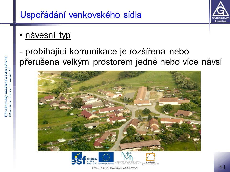 Přírodní vědy moderně a interaktivně ©Gymnázium Hranice, Zborovská 293 Uspořádání venkovského sídla návesní typ - probíhající komunikace je rozšířena