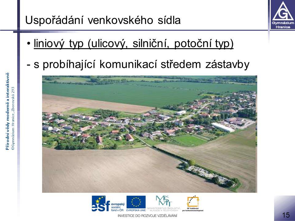 Přírodní vědy moderně a interaktivně ©Gymnázium Hranice, Zborovská 293 liniový typ (ulicový, silniční, potoční typ) - s probíhající komunikací středem