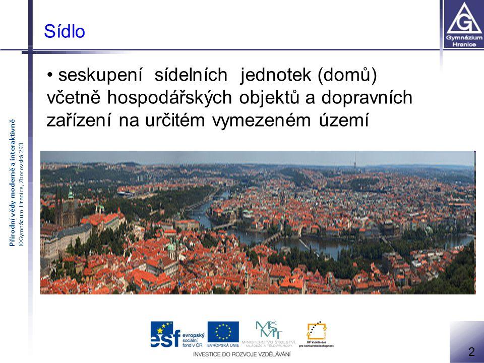Přírodní vědy moderně a interaktivně ©Gymnázium Hranice, Zborovská 293 seskupení sídelních jednotek (domů) včetně hospodářských objektů a dopravních z