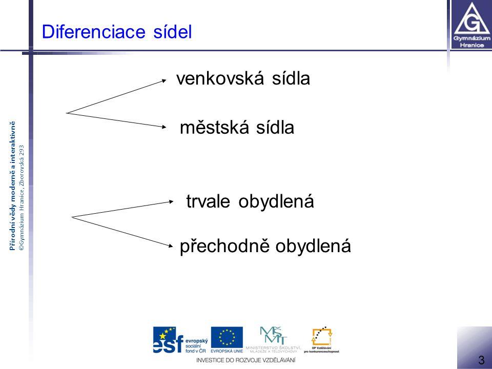 Přírodní vědy moderně a interaktivně ©Gymnázium Hranice, Zborovská 293 Diferenciace sídel venkovská sídla městská sídla 3 trvale obydlená přechodně ob