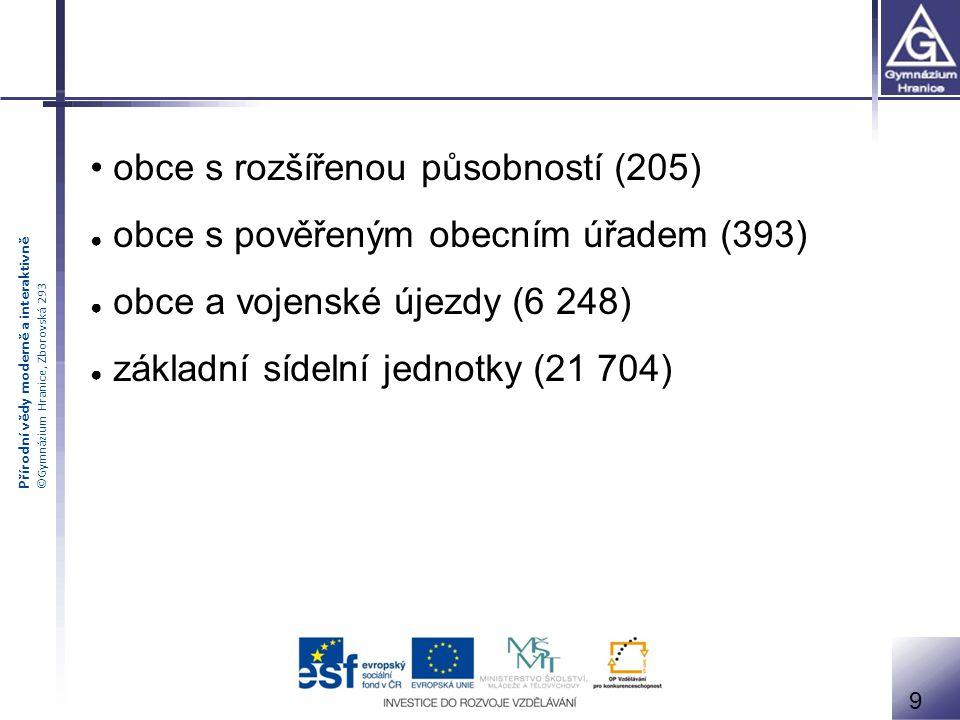 Přírodní vědy moderně a interaktivně ©Gymnázium Hranice, Zborovská 293 9 obce s rozšířenou působností (205) ● obce s pověřeným obecním úřadem (393) ●