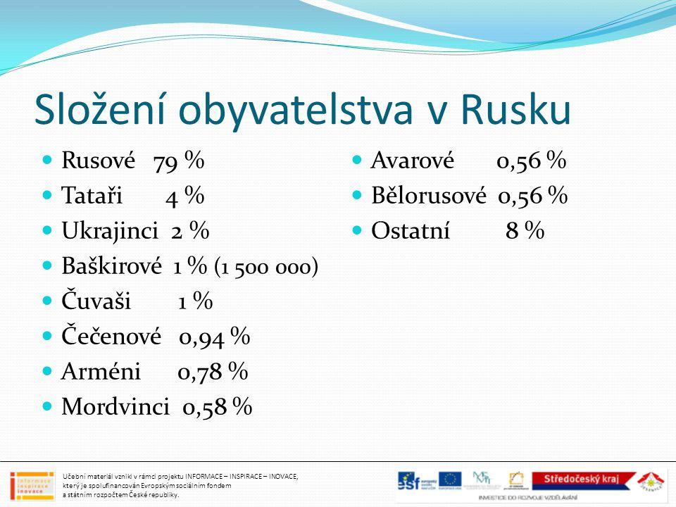 Složení obyvatelstva v Rusku Rusové 79 % Tataři 4 % Ukrajinci 2 % Baškirové 1 % (1 500 000) Čuvaši 1 % Čečenové 0,94 % Arméni 0,78 % Mordvinci 0,58 %