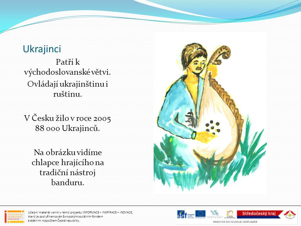 Ukrajinci Patří k východoslovanské větvi. Ovládají ukrajinštinu i ruštinu. V Česku žilo v roce 2005 88 000 Ukrajinců. Na obrázku vidíme chlapce hrajíc