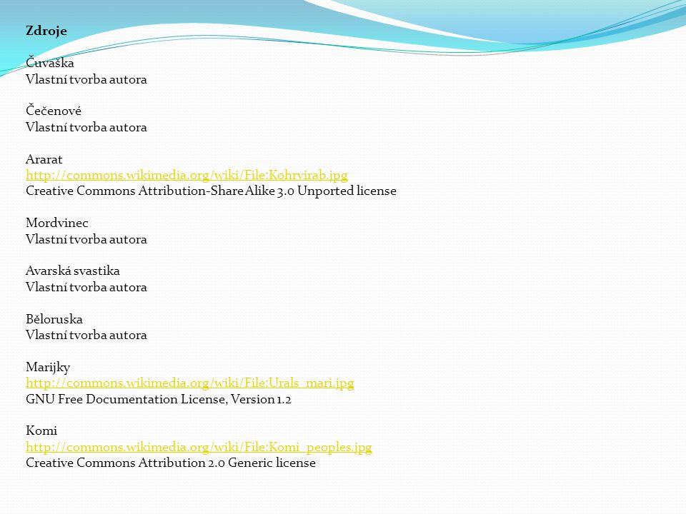 Zdroje Čuvaška Vlastní tvorba autora Čečenové Vlastní tvorba autora Ararat http://commons.wikimedia.org/wiki/File:Kohrvirab.jpg Creative Commons Attri