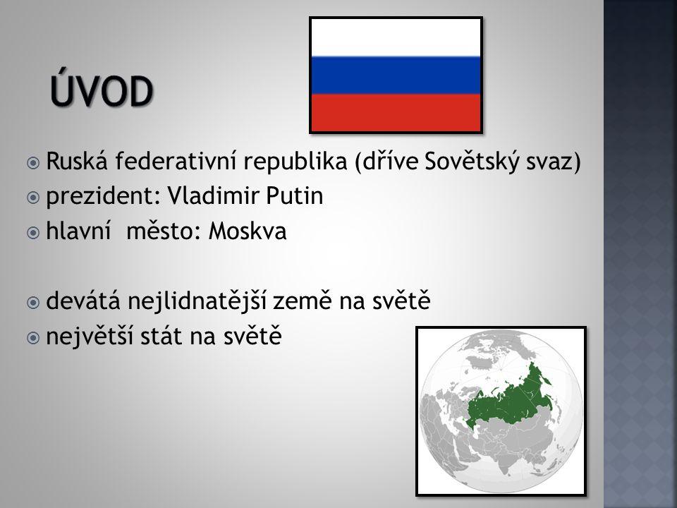  Ruská federativní republika (dříve Sovětský svaz)  prezident: Vladimir Putin  hlavní město: Moskva  devátá nejlidnatější země na světě  největší