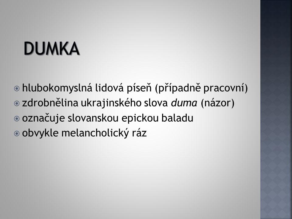  hlubokomyslná lidová píseň (případně pracovní)  zdrobnělina ukrajinského slova duma (názor)  označuje slovanskou epickou baladu  obvykle melancho