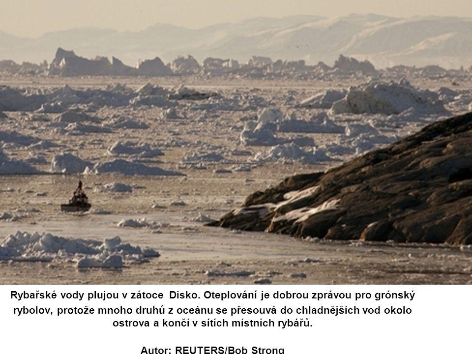 Rybařské vody plujou v zátoce Disko. Oteplování je dobrou zprávou pro grónský rybolov, protože mnoho druhů z oceánu se přesouvá do chladnějších vod ok