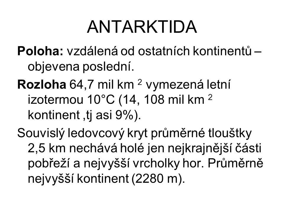 ANTARKTIDA Poloha: vzdálená od ostatních kontinentů – objevena poslední. Rozloha 64,7 mil km 2 vymezená letní izotermou 10°C (14, 108 mil km 2 kontine