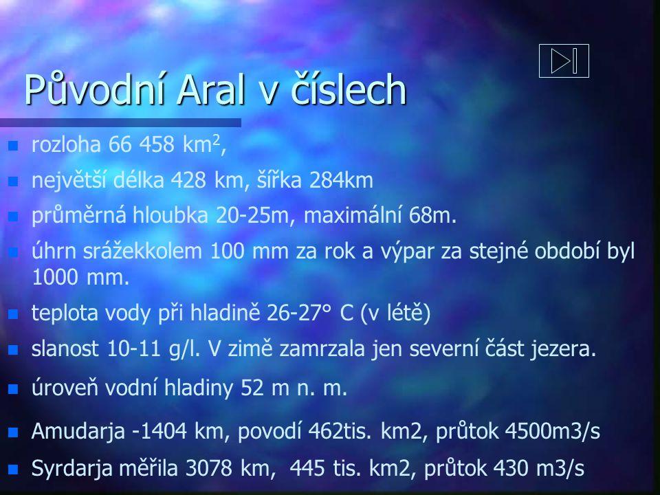 Původní Aral v číslech n n rozloha 66 458 km 2, n n největší délka 428 km, šířka 284km n n průměrná hloubka 20-25m, maximální 68m.