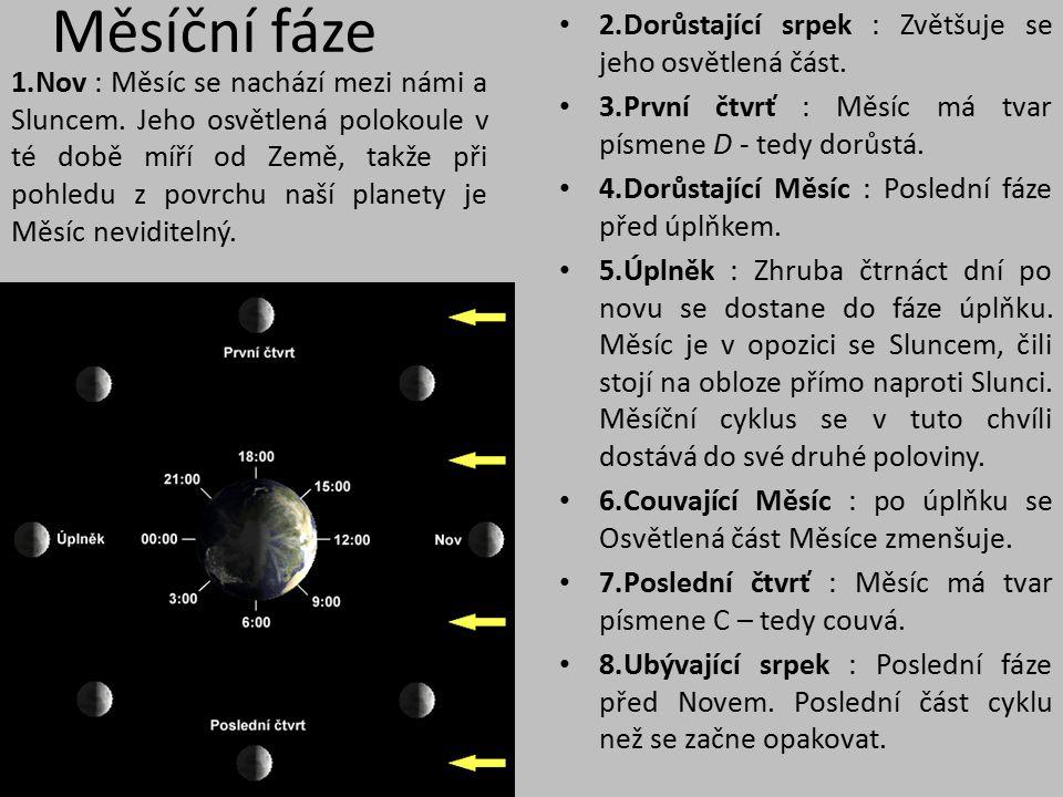 Měsíční fáze 2.Dorůstající srpek : Zvětšuje se jeho osvětlená část.