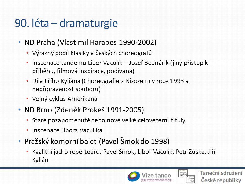 90. léta – dramaturgie ND Praha (Vlastimil Harapes 1990-2002) Výrazný podíl klasiky a českých choreografů Inscenace tandemu Libor Vaculík – Jozef Bedn