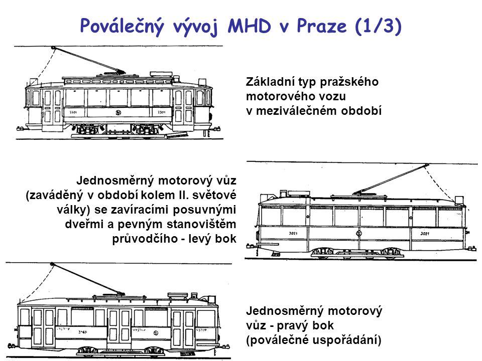 Základní typ pražského motorového vozu v meziválečném období Jednosměrný motorový vůz (zaváděný v období kolem II. světové války) se zavíracími posuvn