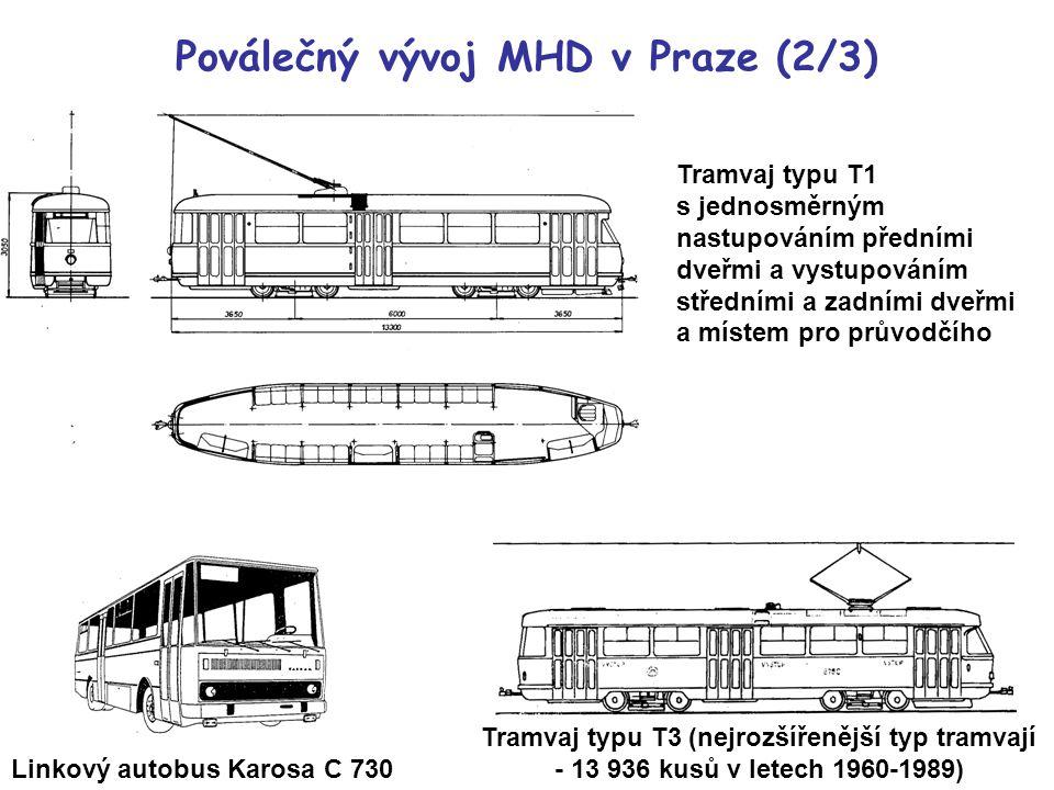 Tramvaj typu T1 s jednosměrným nastupováním předními dveřmi a vystupováním středními a zadními dveřmi a místem pro průvodčího Tramvaj typu T3 (nejrozšířenější typ tramvají - 13 936 kusů v letech 1960-1989) Poválečný vývoj MHD v Praze (2/3) Linkový autobus Karosa C 730