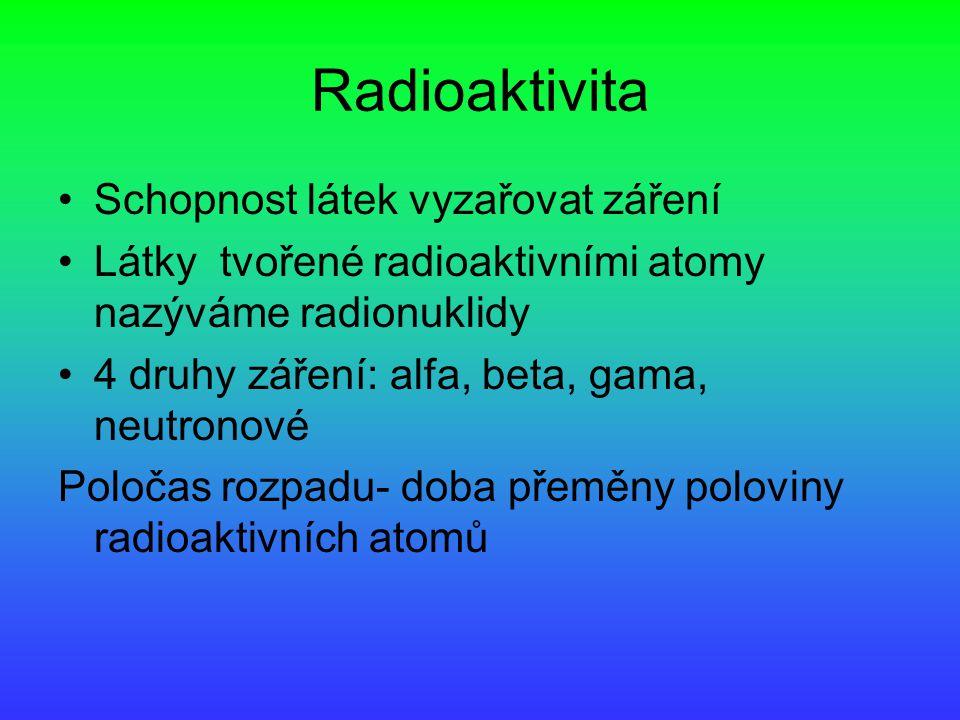 Radioaktivita Schopnost látek vyzařovat záření Látky tvořené radioaktivními atomy nazýváme radionuklidy 4 druhy záření: alfa, beta, gama, neutronové Poločas rozpadu- doba přeměny poloviny radioaktivních atomů