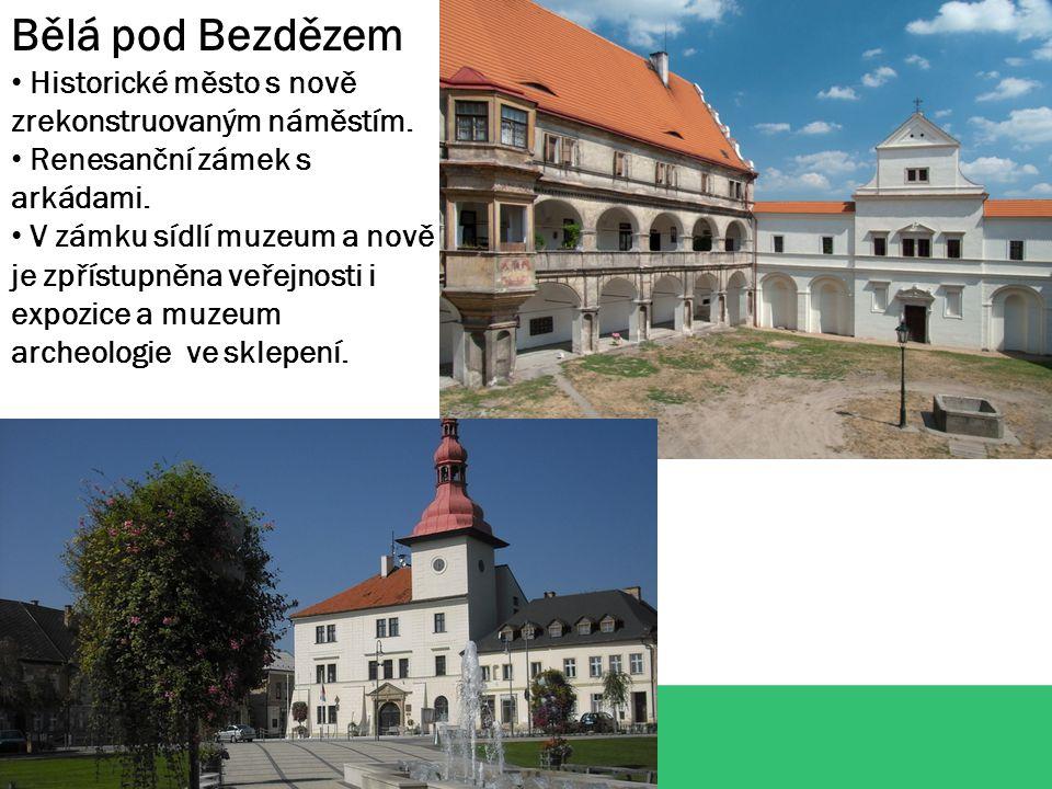 Bělá pod Bezdězem Historické město s nově zrekonstruovaným náměstím. Renesanční zámek s arkádami. V zámku sídlí muzeum a nově je zpřístupněna veřejnos