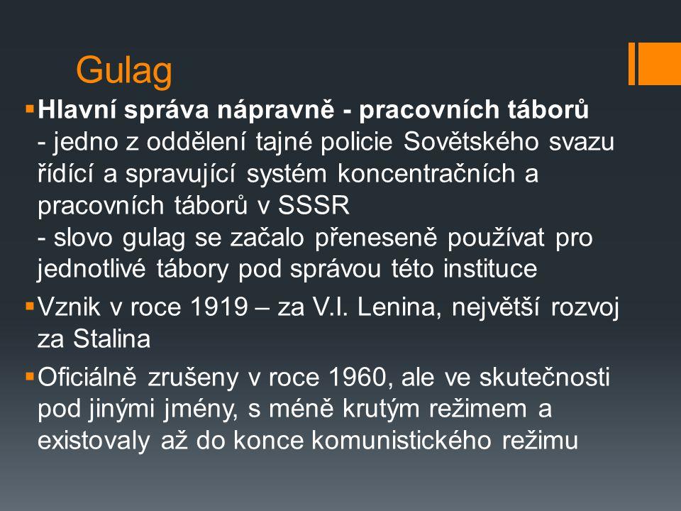 Gulag  Hlavní správa nápravně - pracovních táborů - jedno z oddělení tajné policie Sovětského svazu řídící a spravující systém koncentračních a pracovních táborů v SSSR - slovo gulag se začalo přeneseně používat pro jednotlivé tábory pod správou této instituce  Vznik v roce 1919 – za V.I.