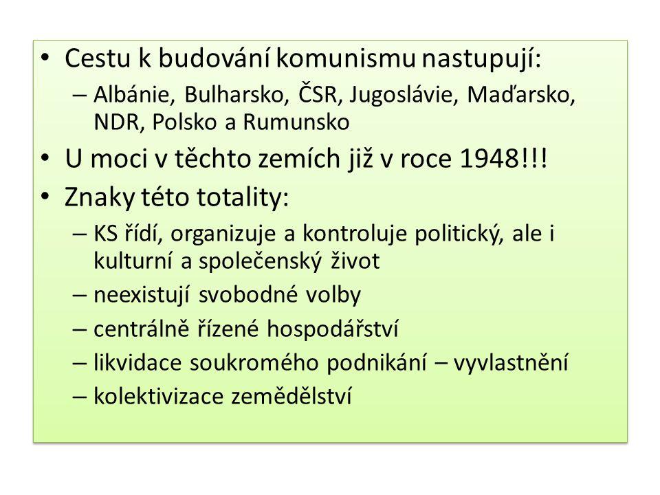 Cestu k budování komunismu nastupují: – Albánie, Bulharsko, ČSR, Jugoslávie, Maďarsko, NDR, Polsko a Rumunsko U moci v těchto zemích již v roce 1948!!
