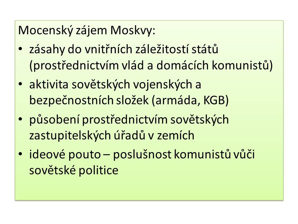 Mocenský zájem Moskvy: zásahy do vnitřních záležitostí států (prostřednictvím vlád a domácích komunistů) aktivita sovětských vojenských a bezpečnostní