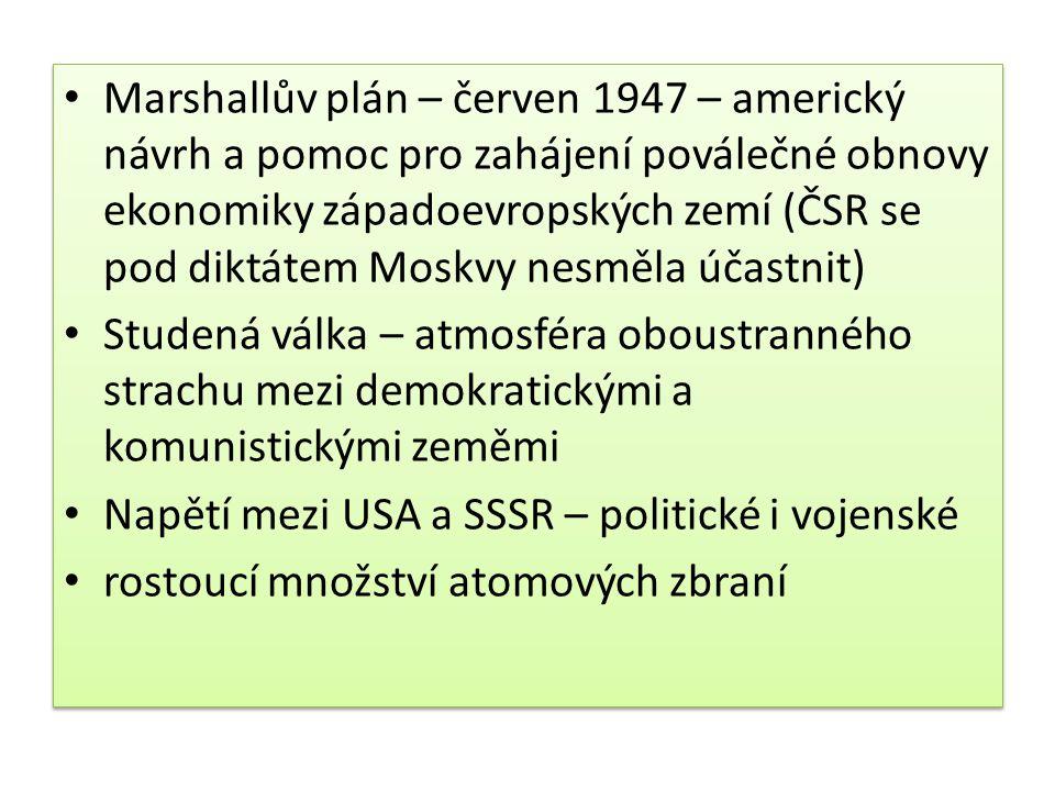 Marshallův plán – červen 1947 – americký návrh a pomoc pro zahájení poválečné obnovy ekonomiky západoevropských zemí (ČSR se pod diktátem Moskvy nesmě