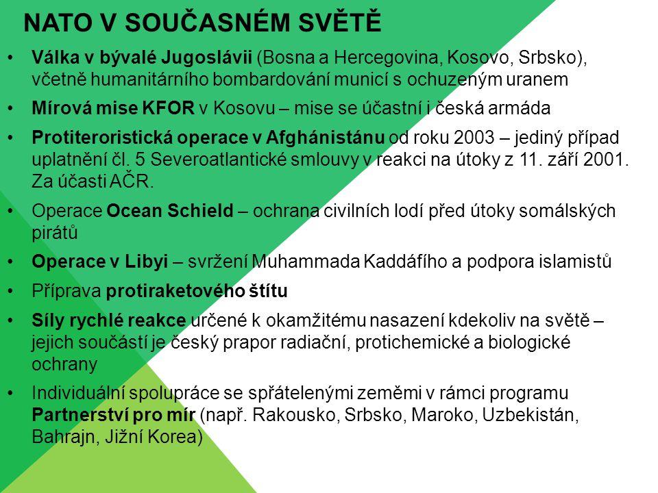 NATO V SOUČASNÉM SVĚTĚ Válka v bývalé Jugoslávii (Bosna a Hercegovina, Kosovo, Srbsko), včetně humanitárního bombardování municí s ochuzeným uranem Mírová mise KFOR v Kosovu – mise se účastní i česká armáda Protiteroristická operace v Afghánistánu od roku 2003 – jediný případ uplatnění čl.