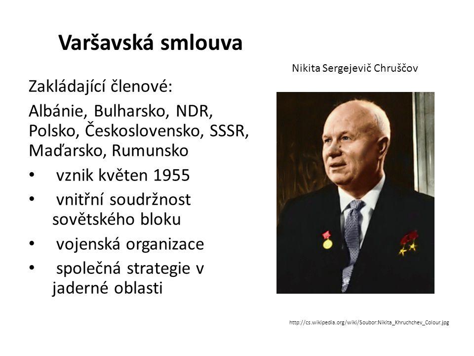 Varšavská smlouva Zakládající členové: Albánie, Bulharsko, NDR, Polsko, Československo, SSSR, Maďarsko, Rumunsko vznik květen 1955 vnitřní soudržnost