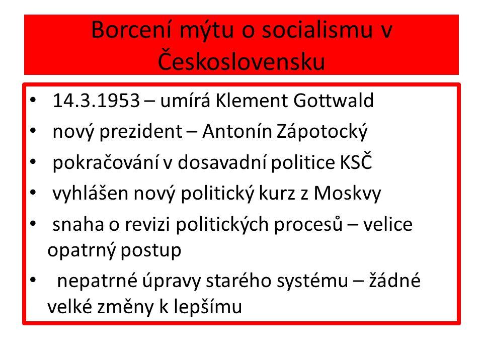 Borcení mýtu o socialismu v Československu 14.3.1953 – umírá Klement Gottwald nový prezident – Antonín Zápotocký pokračování v dosavadní politice KSČ