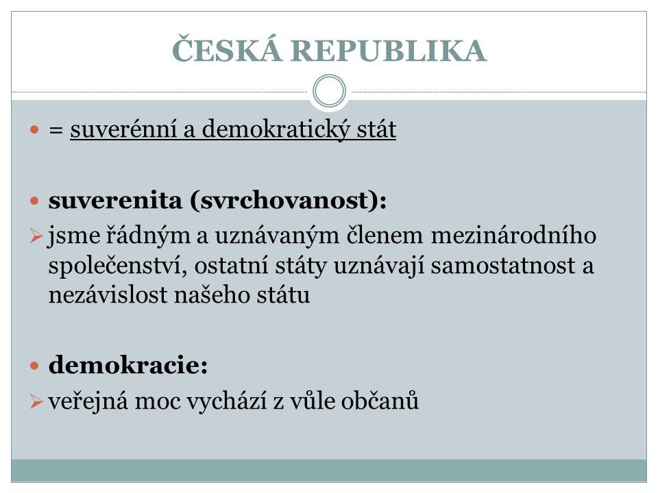 ČESKÁ REPUBLIKA = suverénní a demokratický stát suverenita (svrchovanost):  jsme řádným a uznávaným členem mezinárodního společenství, ostatní státy uznávají samostatnost a nezávislost našeho státu demokracie:  veřejná moc vychází z vůle občanů