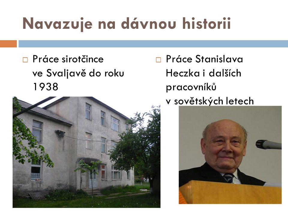 Navazuje na dávnou historii  Práce sirotčince ve Svaljavě do roku 1938  Práce Stanislava Heczka i dalších pracovníků v sovětských letech