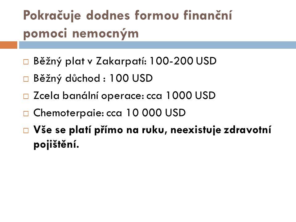 Pokračuje dodnes formou finanční pomoci nemocným  Běžný plat v Zakarpatí: 100-200 USD  Běžný důchod : 100 USD  Zcela banální operace: cca 1000 USD  Chemoterpaie: cca 10 000 USD  Vše se platí přímo na ruku, neexistuje zdravotní pojištění.