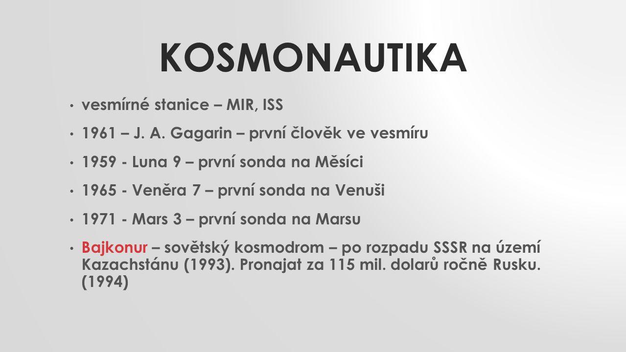 KOSMONAUTIKA vesmírné stanice – MIR, ISS 1961 – J. A. Gagarin – první člověk ve vesmíru 1959 - Luna 9 – první sonda na Měsíci 1965 - Veněra 7 – první