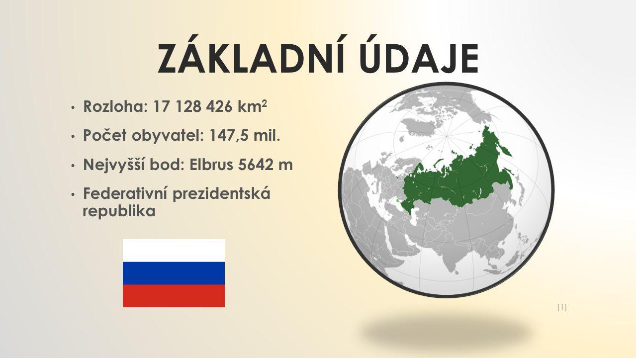 ZÁKLADNÍ ÚDAJE Rozloha: 17 128 426 km 2 Počet obyvatel: 147,5 mil. Nejvyšší bod: Elbrus 5642 m Federativní prezidentská republika [1][1]