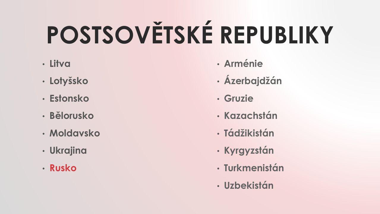 POSTSOVĚTSKÉ REPUBLIKY Litva Lotyšsko Estonsko Bělorusko Moldavsko Ukrajina Rusko Arménie Ázerbajdžán Gruzie Kazachstán Tádžikistán Kyrgyzstán Turkmen