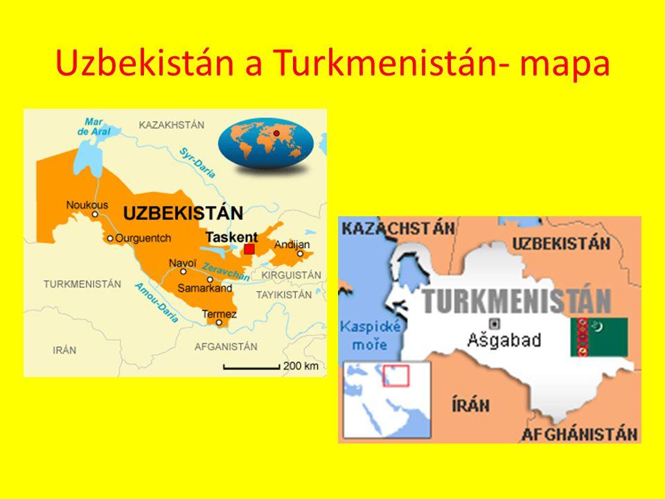 Uzbekistán a Turkmenistán- mapa