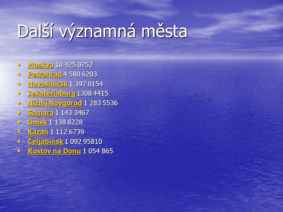 Další významná města Moskva 10 425 0752 Moskva 10 425 0752 Moskva Petrohrad 4 580 6203 Petrohrad 4 580 6203 Petrohrad Novosibirsk 1 397 0154 Novosibir
